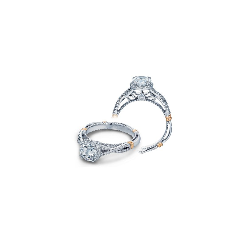 Verragio Verragio Parisian D-106R - 14k White and Rose Gold Diamond Round Halo Engagement Ring by Verragio