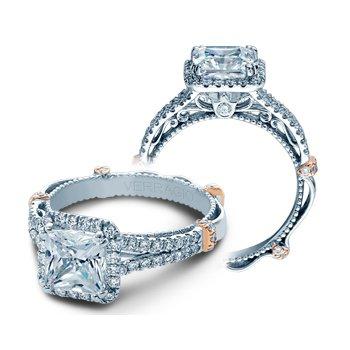 Verragio Parisian DL 107P - 14k White and Rose Gold Princess Cut Diamond Halo Engagement Ring