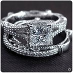 Verragio Verragio Parisian DL 107P - 14k White and Rose Gold Princess Cut Diamond Halo Engagement Ring