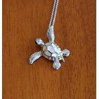 Kovel Sealife Sterling Silver and 18k Gold Plated Small Sea Turtle Pendant with White Mother of Pearl Inlay