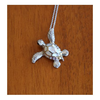 Sterling Silver and 18k Gold Plated Small Sea Turtle Pendant with White Mother of Pearl Inlay