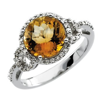 Genuine Checkerboard Citrine & Diamond Ring