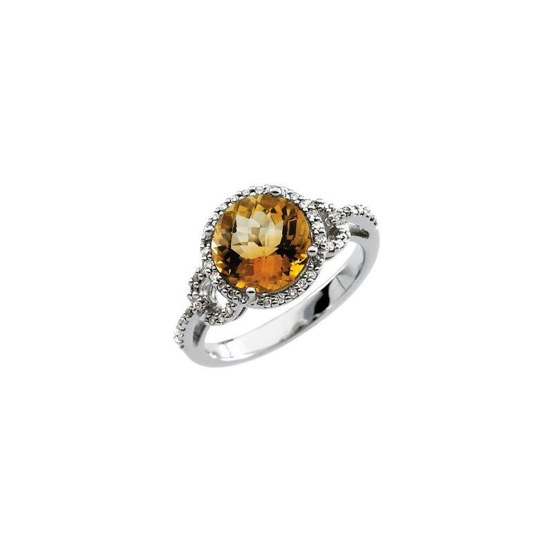 Signature Collection Genuine Checkerboard Citrine & Diamond Ring