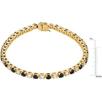 Genuine Blue Sapphire & Diamond Bracelet - EL475134