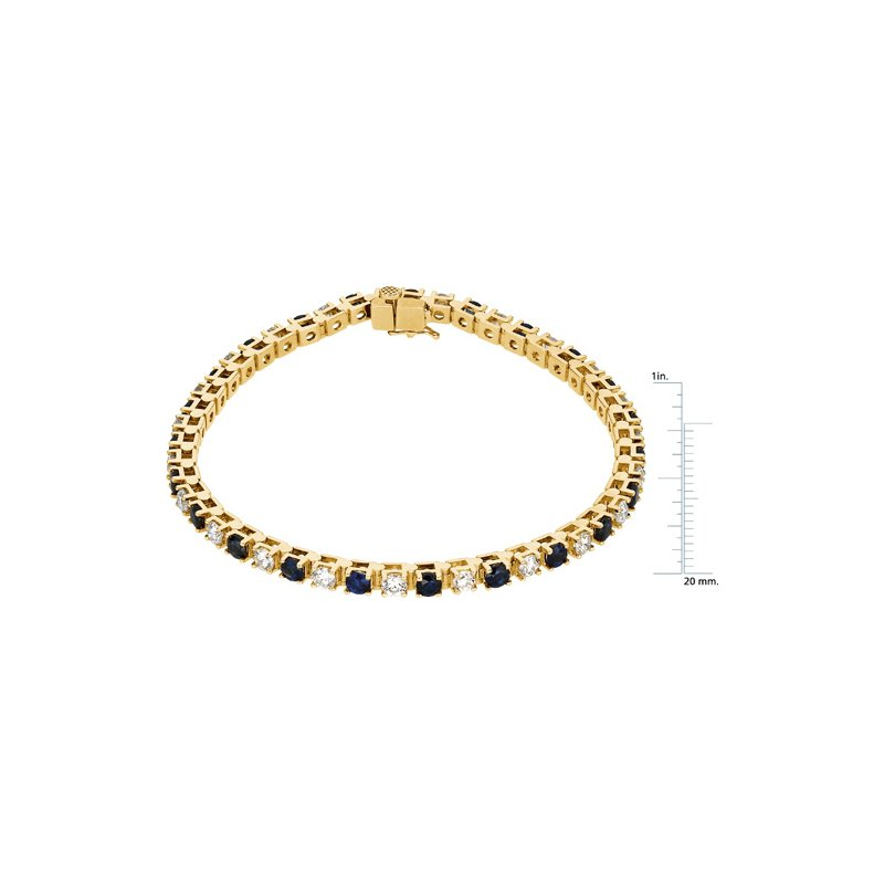 Signature Collection Genuine Blue Sapphire & Diamond Bracelet - EL475134