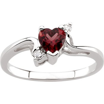 Genuine Heart-Shape Rhodolite Garnet & Diamond Ring