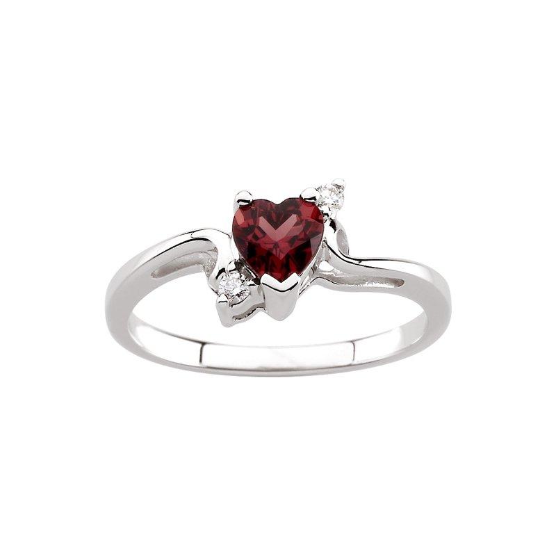 Signature Collection Genuine Heart-Shape Rhodolite Garnet & Diamond Ring