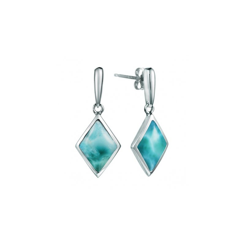 Alamea Larimar  Alamea Sterling Silver Rhombus Earrings with Larimar