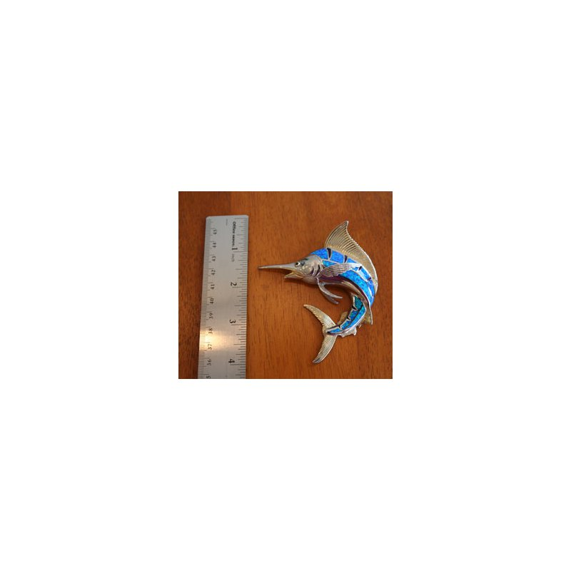 Kovel Sealife Sterling Silver and 18k Gold Plated Marlin Slide Pendant with Kyocera Lab Created Synthetic Opal