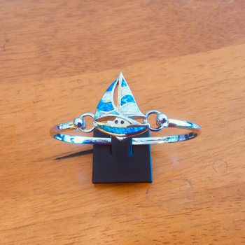 Kovel Sterling Silver and Gold Plate Sailboat Topper with Kyocera Lab Created Opal