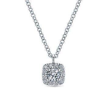 14k White Gold Cushion Halo Diamond Necklace