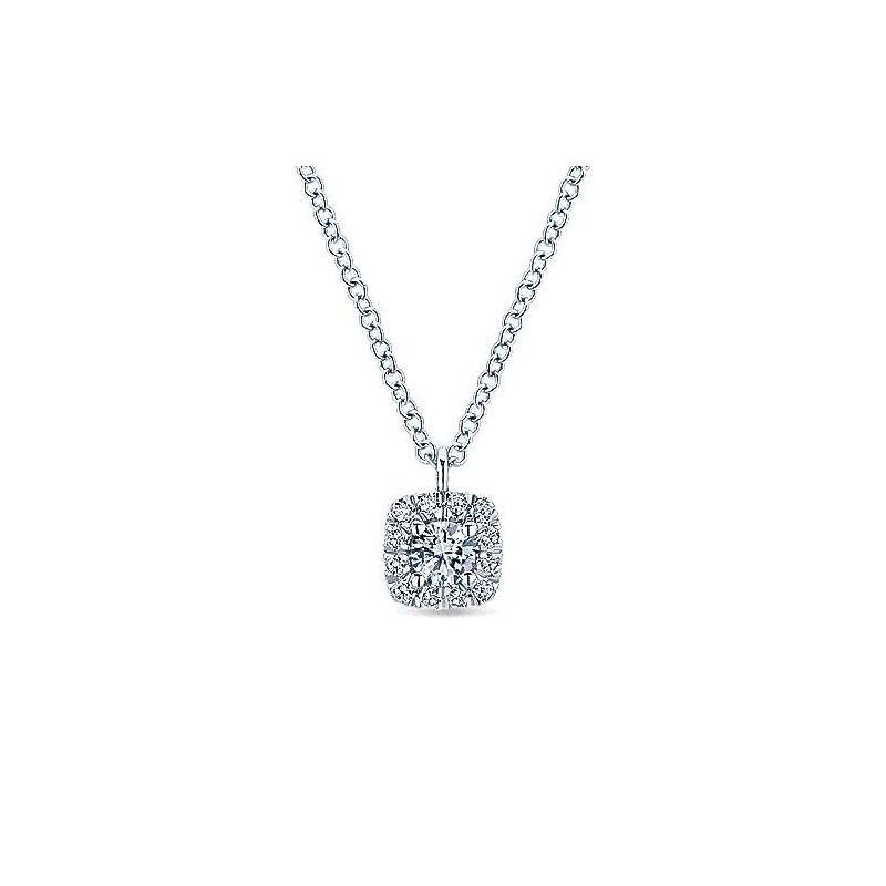 Signature Collection 14k White Gold Cushion Halo Diamond Necklace