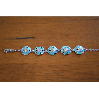 Sterling Silver and Gold Plate Sanddollar Bracelet with Kyocera Lab Created Opal