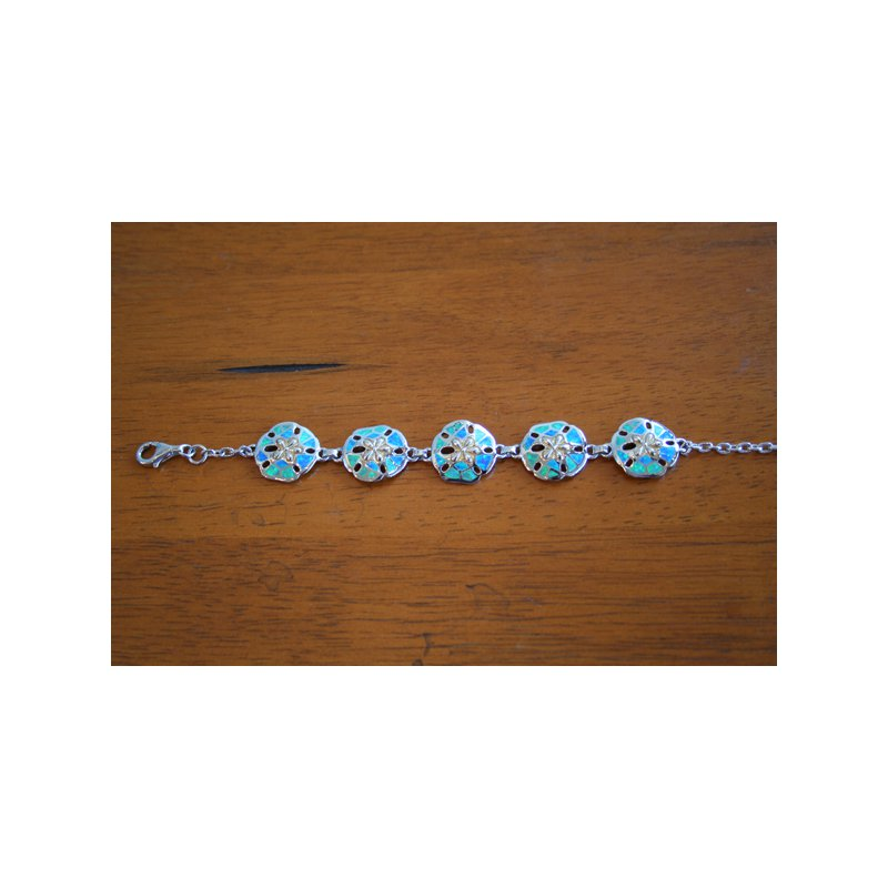 Kovel Sealife Sterling Silver and Gold Plate Sanddollar Bracelet with Kyocera Lab Created Opal