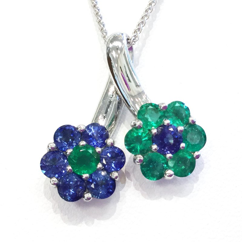 Signature Collection 18k White Gold Emerald and Sapphire Pendant - #29846