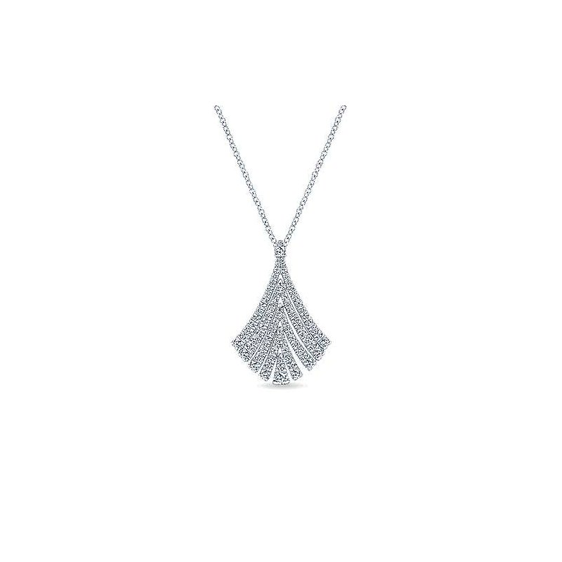 Signature Collection 14k White Gold Diamond Fan Necklace by Gabriel NY