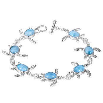 Alamea Sterling Silver Turtle Bracelet with Larimar