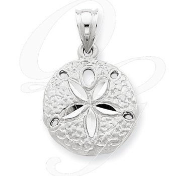 Quality Collection Sealife 14k White Gold Sand Dollar Pendant