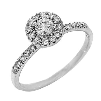 14k White Gold Round Halo Engagement Ring - #36528