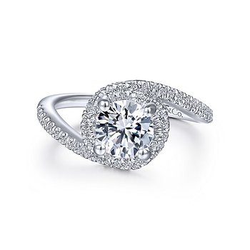 14k White Gold Bypass Engagement Ring by Gabriel NY