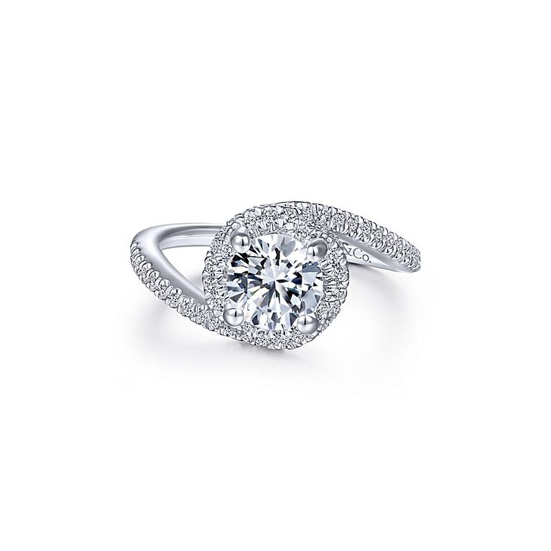 Gabriel NY 14k White Gold Bypass Engagement Ring by Gabriel NY