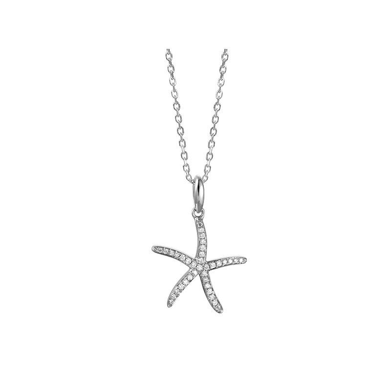 Sealife Jewelry 14k White Gold Diamond Starfish Pendant