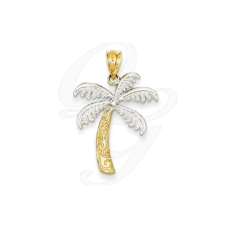 Sealife Jewelry Quality Collection 14k Yellow Gold Palm Tree Pendant