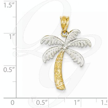 Quality Collection 14k Yellow Gold Palm Tree Pendant