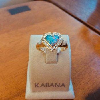 Kabana Australian Opal Inlay and Diamond Heart Ring