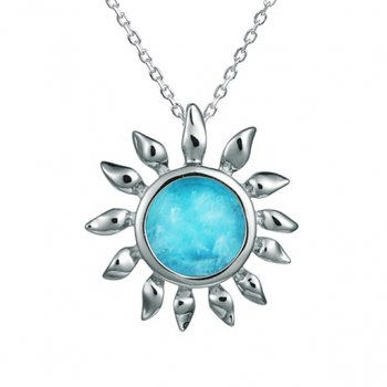 Sterling Silver Sunflower Pendant with Larimar