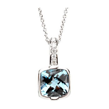 Genuine Checkerboard Swiss Blue Topaz & Diamond Necklace