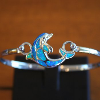 Sterling Silver Dolphin Bangle Topper with Kyocera Lab Created Australian Opal