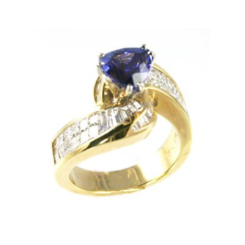 Genuine Tanzanite and Diamond Ring in 18k Yellow Gold