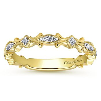 14k Yellow Gold Stackable Diamond Ring by Gabriel NY - Style #LR4855
