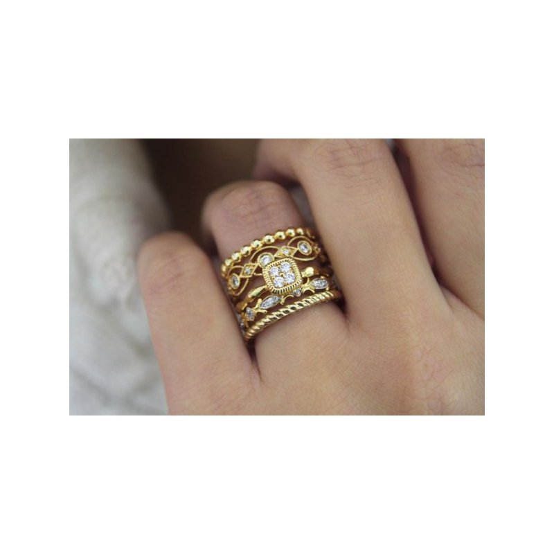 Gabriel NY 14k Yellow Gold Stackable Diamond Ring by Gabriel NY - Style #LR4855