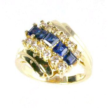 14k Yellow Gold Genuine Sapphire and Diamond Ring - #18215