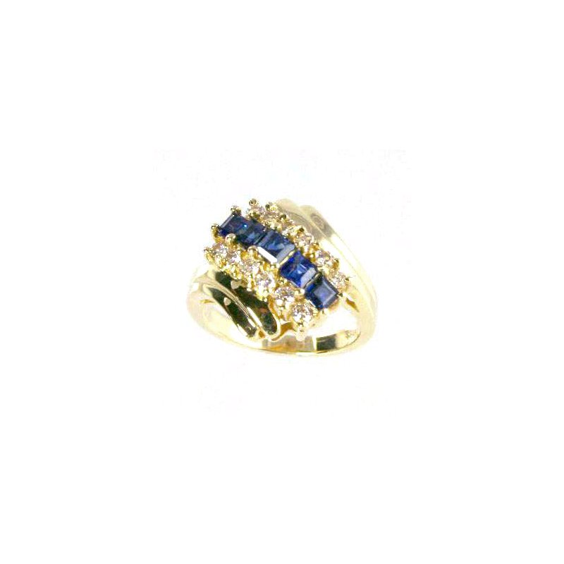 Signature Collection 14k Yellow Gold Genuine Sapphire and Diamond Ring - #18215