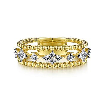 14k Yellow Gold Diamond & Bujukan Bead Ring by Gabriel NY