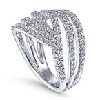 Signature Collection Signature Collection Lusso Multi Diamond Band Swirl Fashion Ring by Gabriel NY