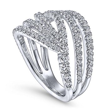 Signature Collection Lusso Multi Diamond Band Swirl Fashion Ring by Gabriel NY