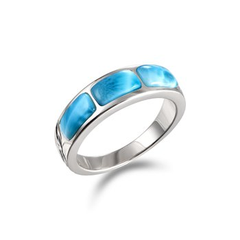 Sterling Silver Engraved Ring with Larimar