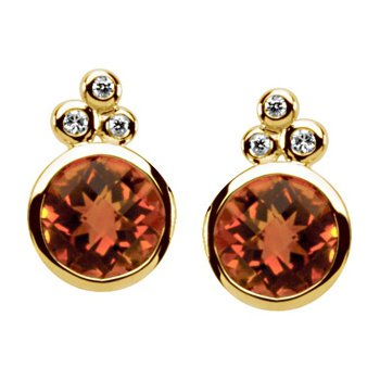 Genuine Checkerboard Golden Citrine & Diamond Earrings