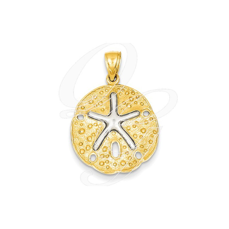 Sealife Jewelry Quality Collection Sealife 14k Yellow and White Gold Sand Dollar Pendant