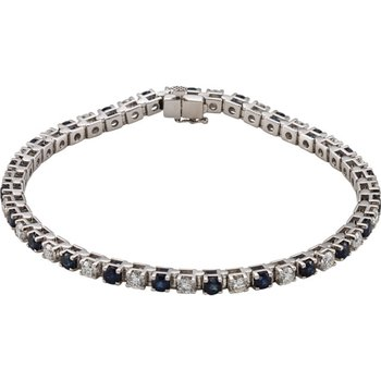 14k White Gold Genuine Sapphire and Diamond Bracelet - #ELI62074SS