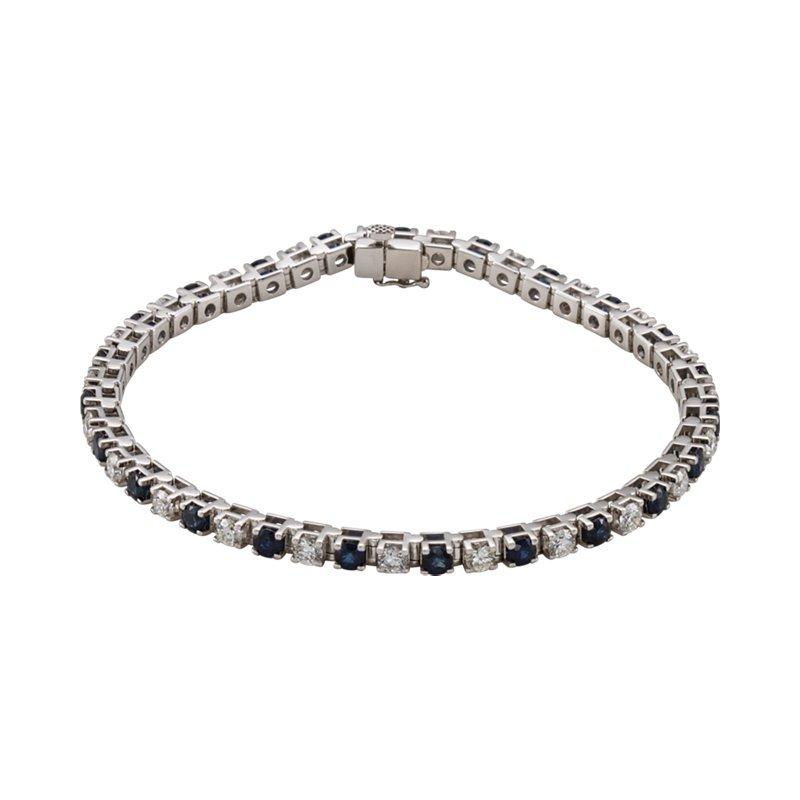Signature Collection 14k White Gold Genuine Sapphire and Diamond Bracelet - #ELI62074SS