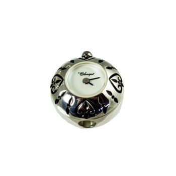 Sterling Silver Bead Watch with Black Enamel Hearts and White Mother of Pearl