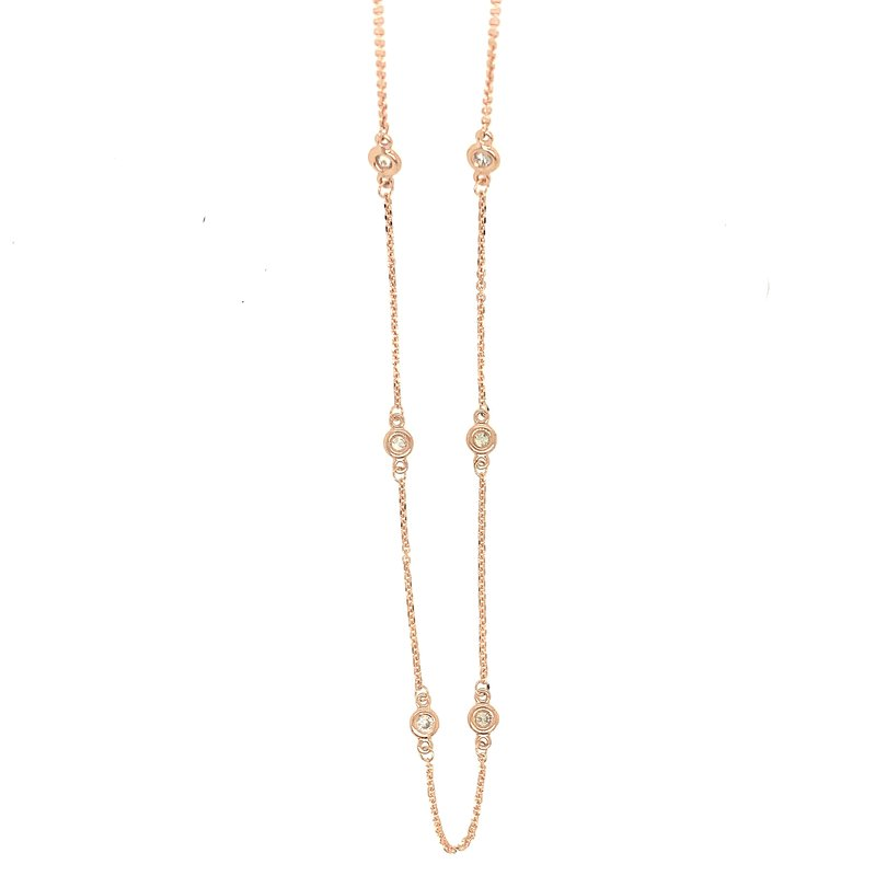 Signature Collection 14k Rose Gold Diamond Station Necklace