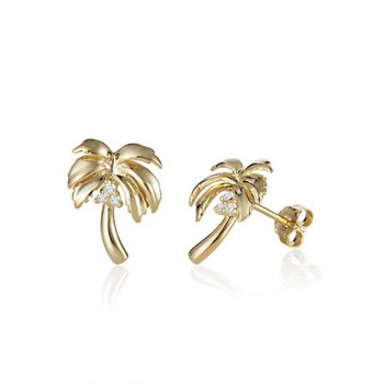 14k Yellow Gold Palm Tree Earrings with Diamond Coconuts