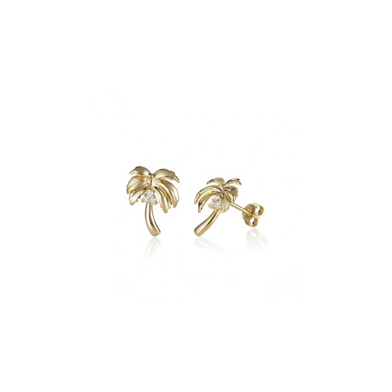 Sealife Jewelry 14k Yellow Gold Palm Tree Earrings with Diamond Coconuts