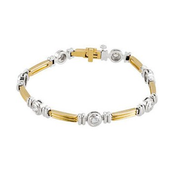 14k White and Yellow Gold Bezel Set Diamond Tennis Bracelet - ELIBRC651SS - 2 Tone